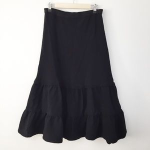 Coldwater Creek Black Tiered Gauze Midi Skirt